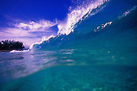 Beautiful blue rolling waves off the North Shore of Oahu