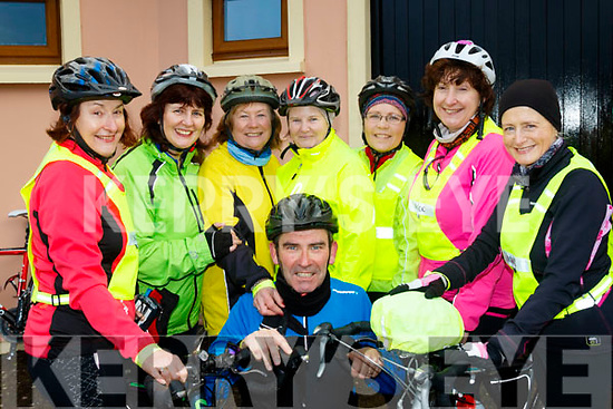 Denis O'Sullivan is surrounded by lady cyclists L-R Margaret O'Shea, Joan Hill, Ann O'Riordan, Joan O'Sullivan, Angela Moloney, Annette Dineen&Berenice Fitzgibbon at the Jim Duffy memorial cycle last Saturday in Blennerville.