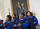 The Howard University Gospel Choir performs for United States President Barack Obama at the Easter Prayer Breakfast at the White House in Washington, D.C. on March 30, 2016.<br /> Credit: Kevin Dietsch / Pool via CNP