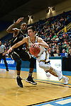 SALEM, VA - MARCH 17: Wisconsin-Oshkosh Titans guard Brett Wittchow (4) drives past Nebraska Wesleyan Prairie Wolves forward Deion Wells-Ross (3) during the Division III Men's Basketball Championship held at the Salem Civic Center on March 17, 2018 in Salem, Virginia. Nebraska Wesleyen defeated Wisconsin-Oshkosh 78-72 for the national title. (Photo by Andres Alonso/NCAA Photos/NCAA Photos via Getty Images)