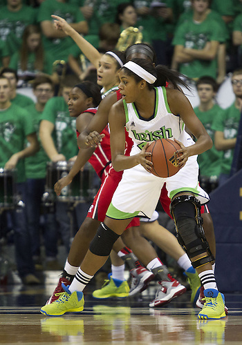 January 13, 2013:  Notre Dame forward Ariel Braker (44) looks to pass the ball during NCAA Basketball game action between the Notre Dame Fighting Irish and the Rutgers Scarlett Knights at Purcell Pavilion at the Joyce Center in South Bend, Indiana.  Notre Dame defeated Rutgers 71-46.