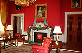 The White House Christmas decorations were shown to the press on December 3, 2001.  Even though the Executive Mansion has been closed to tourists since the 9/11 terrorist attacks, the annual ritual of decorating the house continues. The Red Room decorations.  On the mantel is a display of Martin Van Buren's home known as Lindenwald.<br /> Credit: Ron Sachs / CNP<br /> Credit: Ron Sachs / CNP