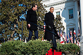 United States President Barack Obama welcomes President Francois Hollande of France to the White House during an arrival ceremony on the South Lawn of the White House in Washington, District of Columbia, U.S., on Tuesday, Feb. 11, 2014.  Obama and Hollande will meet in the Oval Office for policy meetings, hold a joint press conference and attend a State Dinner later in the evening.<br /> Credit: Pete Marovich / Pool via CNP