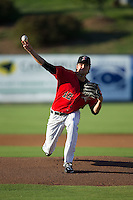 Kannapolis Intimidators starting pitcher Spencer Adams (12) in action against the Greensboro Grasshoppers at CMC-Northeast Stadium on August 1, 2015 in Kannapolis, North Carolina.  The Intimidators defeated the Grasshoppers 7-4.  (Brian Westerholt/Four Seam Images)