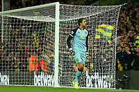 27th Ocotber 2019; Carrow Road, Norwich, Norfolk, England, English Premier League Football, Norwich versus Manchester United; Tim Krul of Norwich City celebrates as he saves Anthony Martial of Manchester Utd penalty - Strictly Editorial Use Only. No use with unauthorized audio, video, data, fixture lists, club/league logos or 'live' services. Online in-match use limited to 120 images, no video emulation. No use in betting, games or single club/league/player publications