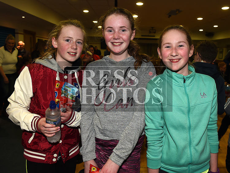 Brónagh McDonald, Ruby Carrie and Isabella Carolan at the St. Mary's juvenile awards night. Photo:Colin Bell/pressphotos.ie