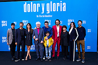 (L-R) Leonardo Sbaraglia, Penelope Cruz, Pedro Almodovar, Antonio Banderas, Asier Flores, Asier Etxeandía, Julieta Serrano, Nora Navas and Raul Arevalo attend the photocall of the movie 'Dolor y gloria' in Villa Magna Hotel, Madrid 12th March 2019. (ALTERPHOTOS/Alconada) /NortePhoto.con NORTEPHOTOMEXICO