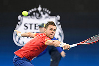 7th January 2020; Sydney Olympic Park Tennis Centre, Sydney, New South Wales, Australia; ATP Cup Australia, Sydney, Day 5; Great Britain versus Moldova; Daniel Evans of Great Britain versus Radu Albot of Moldova; Radu Albot of Moldova hits a return to Daniel Evans of Great Britain  - Editorial Use