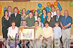 RETIREMENT: In the Killarney Avenue Hotel last Friday night Killarney Mayor Sheila Casey presented Johnny Clifford with a painting to honour his retirement from Killarney UDC and Kerry County Council. Front row l-r: Eileen Clifford, Johnny Clifford, Mayor Sheila Casey, Mary OSullivan and Darragh Fleming. Back row l-r: Sonya Clifford, Anthony OSullivan, Adrian Clifford, Eileen Clifford, Grace Fleming, Lorraine Fleming, Killian Fleming, Mairead Daly, Maisie OSullivan, John OMahony, John OConnor and Michael OLeary..