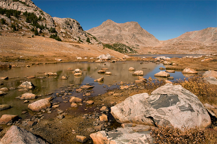 An unseasonably warm autumn day at Timico Lake. Wind River Range, Wyoming
