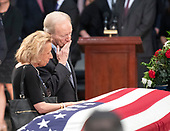 Former United States Senator Joseph Lieberman (Independent Democrat of Connecticut) blows a kiss as he and his wife, Hadassah, pay respects to the late US Senator John McCain (Republican of Arizona) during the Lying in State ceremony honoring  in the US Capitol Rotunda in Washington, DC on Friday, August 31, 2018.<br /> Credit: Ron Sachs / CNP<br /> (RESTRICTION: NO New York or New Jersey Newspapers or newspapers within a 75 mile radius of New York City)