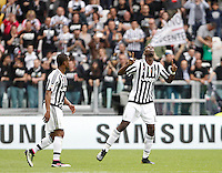 Calcio, Serie A: Juventus vs Palermo. Torino, Juventus Stadium, 17 aprile 2016.<br /> Juventus&rsquo; Paul Pogba, right, celebrates with teammate Patrice Evra after scoring during the Italian Serie A football match between Juventus and Palermo at Turin's Juventus Stadium, 17 April 2016.<br /> UPDATE IMAGES PRESS/Isabella Bonotto