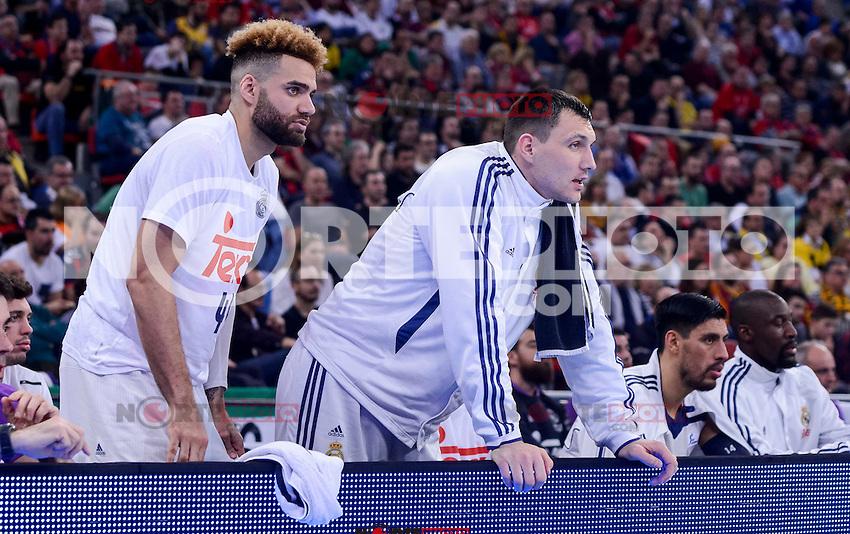 Real Madrid's Jeffery Taylor and Jonas Maciulis during Quarter Finals match of 2017 King's Cup at Fernando Buesa Arena in Vitoria, Spain. February 16, 2017. (ALTERPHOTOS/BorjaB.Hojas) /Nortephoto.com