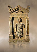 Second century Roman funerary stele dedicated to Anninia Laeta from the cemetery of Thuburbo Majus a city of the Roman province of Africa Proconsularis, in present day Tunisia. The Bardo National Museum , Tunis, Tunisia.