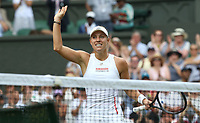 Angelique Kerber (GER) celebrates after winning her match against Tatjana Maria (GER) in their Ladies' Singles First Round match<br /> <br /> Photographer Rob Newell/CameraSport<br /> <br /> Wimbledon Lawn Tennis Championships - Day 2 - Tuesday 2nd July 2019 -  All England Lawn Tennis and Croquet Club - Wimbledon - London - England<br /> <br /> World Copyright © 2019 CameraSport. All rights reserved. 43 Linden Ave. Countesthorpe. Leicester. England. LE8 5PG - Tel: +44 (0) 116 277 4147 - admin@camerasport.com - www.camerasport.com