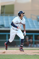 Carlos Correa #1 of the Lancaster JetHawks runs to first base during a game against the Bakersfield Blaze at The Hanger on May 13, 2014 in Lancaster California. Lancaster defeated Bakersfield, 1-0. (Larry Goren/Four Seam Images)