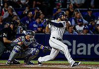 Eric Hosmer de los Padres, durante el partido de beisbol de los Dodgers de Los Angeles contra Padres de San Diego, durante el primer juego de la serie las Ligas Mayores del Beisbol en Monterrey, Mexico el 4 de Mayo 2018.<br /> (Photo: Luis Gutierrez)