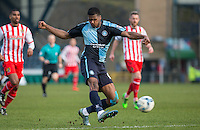 Rowan Liburd of Wycombe Wanderers fires a shot at goal during the Sky Bet League 2 match between Wycombe Wanderers and Stevenage at Adams Park, High Wycombe, England on 12 March 2016. Photo by Andy Rowland/PRiME Media Images.