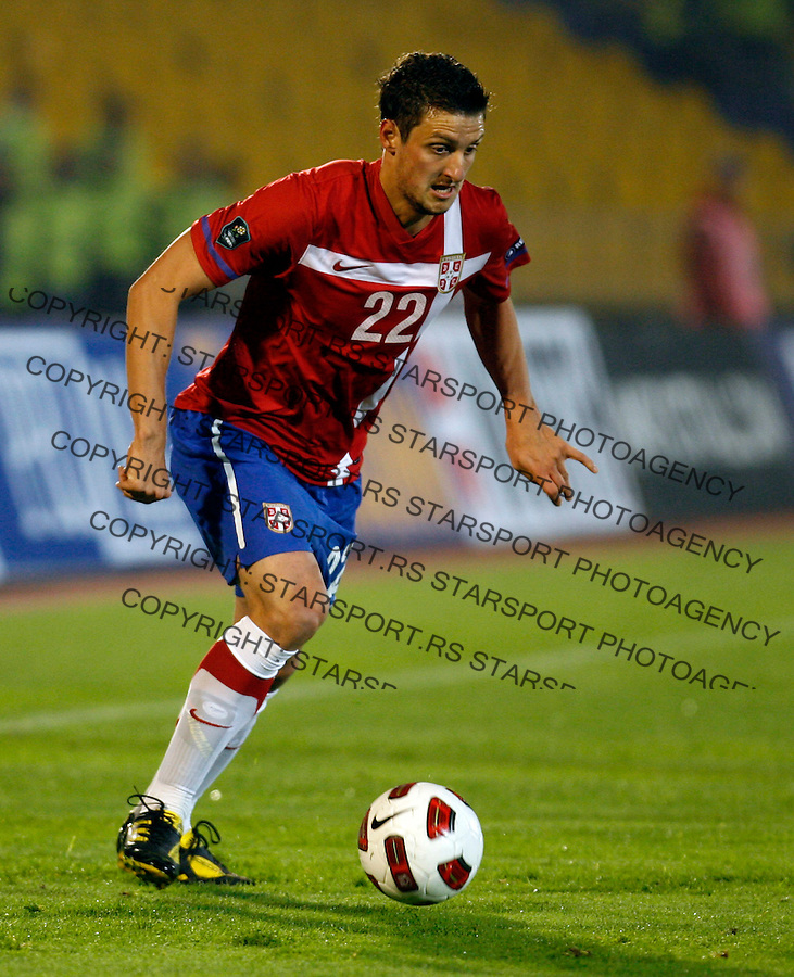 Serbia national football team player Zdravko Kuzmanovic, UEFA Euro 2012 group C qualifying match Serbia vs Estonia in Belgrade Friday, October 8, 2010.  (credit & photo: Pedja Milosavljevic / +381 64 1260 959 / thepedja@gmail.com)