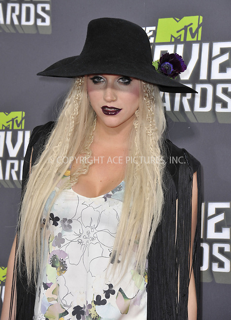 WWW.ACEPIXS.COM....April 14 2013, LA......Ke$ha arriving at the 2013 MTV Movie Awards at Sony Pictures Studios on April 14, 2013 in Culver City, California. ....By Line: Peter West/ACE Pictures......ACE Pictures, Inc...tel: 646 769 0430..Email: info@acepixs.com..www.acepixs.com