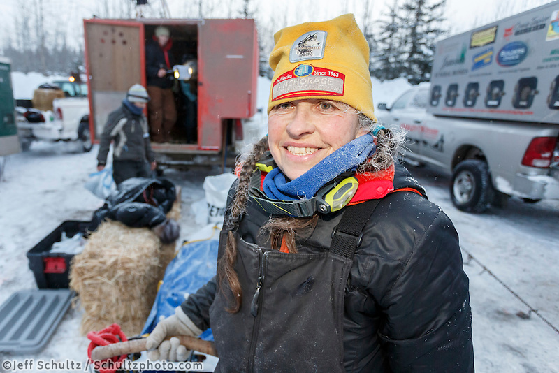 Marcelle Fressineau is all smiles before the start of  the offical start of the 2015 Iditarod in Fairbanks, Alaska.<br /> <br /> (C) Jeff Schultz/SchultzPhoto.com - ALL RIGHTS RESERVED<br />  DUPLICATION  PROHIBITED  WITHOUT  PERMISSION