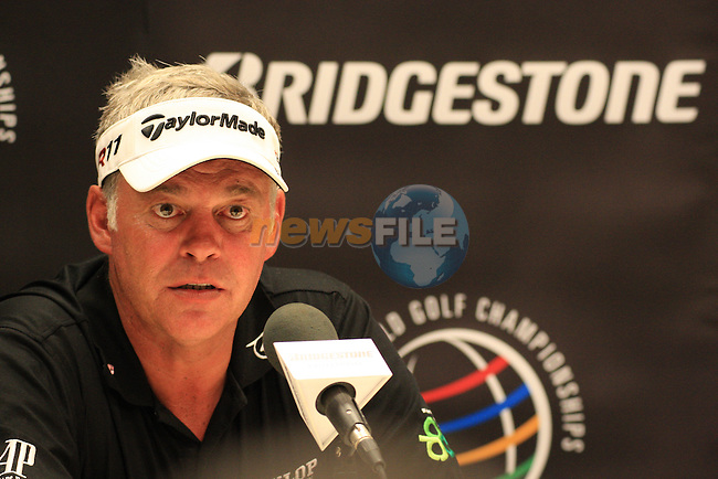 Darren Clarke (NIR) speaking to the media on tuesday of the World Golf Championship Bridgestone Invitational, from Firestone Country Club, Akron, Ohio. 2/8/11.Picture Fran Caffrey www.golffile.ie