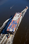 Crowley Maritime Corporation, Shipping Barge, St. Johns River, Jacksonville, Florida, helicopter, aerial
