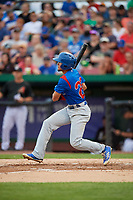 South Bend Cubs center fielder Zach Davis (22) follows through on a swing during a game against the Kane County Cougars on July 21, 2018 at Northwestern Medicine Field in Geneva, Illinois.  South Bend defeated Kane County 4-2.  (Mike Janes/Four Seam Images)