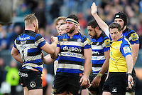 Nathan Catt of Bath Rugby celebrates with team-mate Ross Batty after earning a penalty at a scrum. Aviva Premiership match, between Bath Rugby and Wasps on March 4, 2017 at the Recreation Ground in Bath, England. Photo by: Patrick Khachfe / Onside Images