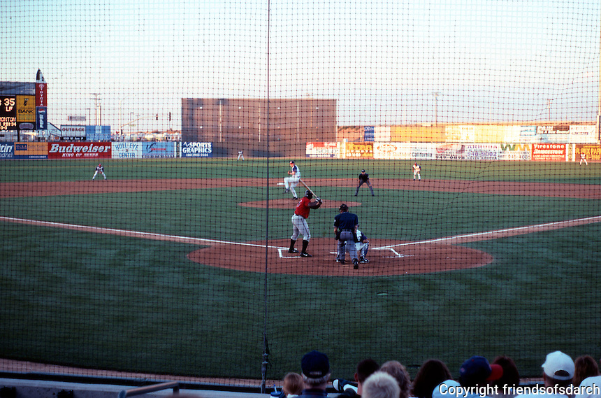 Ballparks: Lancaster Municipal Stadium. First inning--just after 7 PM of an Aug. evening, 1999.