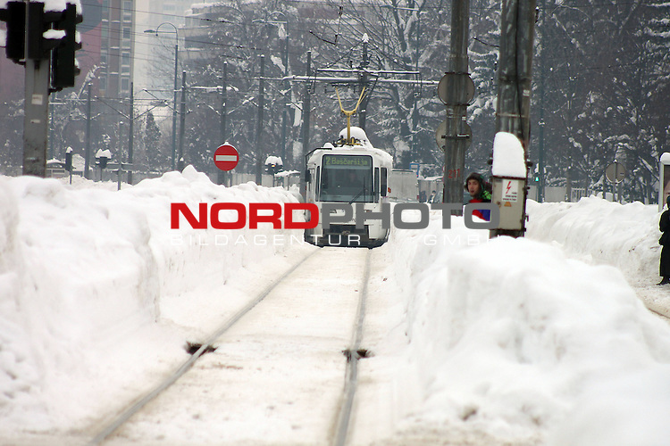 07.02.2012., Sarajevo - After two days of blockade, the center of Sarajevo has finaly been cleaned from snow. Heavy machines have managed to clean the main street and the trams have finaly started to drive their routes. <br /> <br /> Foto &copy;  nph / Halopix