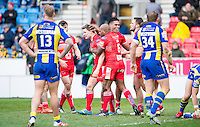 Picture by Allan McKenzie/SWpix.com - 04/03/2017 - Rugby League - Betfred Super League - Salford Red Devils v Warrington Wolves - AJ Bell Stadium, Salford, England - Salford's Kriss Brining is congratulated by Robert Lui on scoring a try against Warrington.