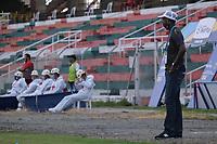 TULUA - COLOMBIA, 19-09-2020: Cortuluá y Atlético F.C. en partido por la fecha 8 del Torneo BetPlay DIMAYOR I 2020 jugado en el estadio Doce de Octubre de la ciudad de Tuluá. / Cortulua and Atletico F.C. in match for the for the date 8 as part of BetPlay DIMAYOR Tournament I 2020 played at Doce de Octubre stadium in Tulua city. Photo: VizzorImage / Juan Jose Horta / Cont