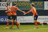 Cameron McGeehan of Luton Town (right) celebrates after he scores his team's second goal of the game to make the score 2-1 during the Sky Bet League 2 match between Luton Town and Barnet at Kenilworth Road, Luton, England on 31 December 2016. Photo by David Horn.