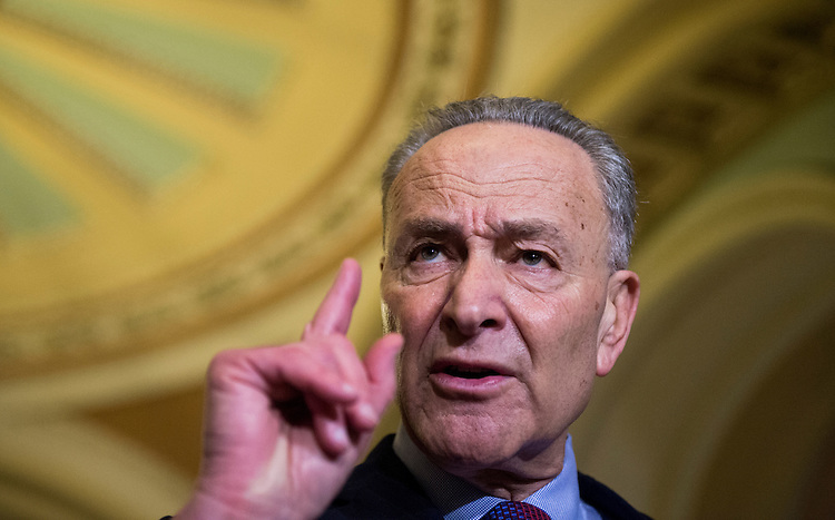 UNITED STATES - JANUARY 31: Senate Minority Leader Chuck Schumer, D-N.Y., speaks to reporters in the Ohio Clock Corridor following the Senate Democrats' policy lunch on Tuesday, Jan. 31, 2017. (Photo By Bill Clark/CQ Roll Call)
