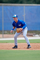Toronto Blue Jays third baseman Nick Podkul (28) during a Florida Instructional League game against the Pittsburgh Pirates on September 20, 2018 at the Englebert Complex in Dunedin, Florida.  (Mike Janes/Four Seam Images)