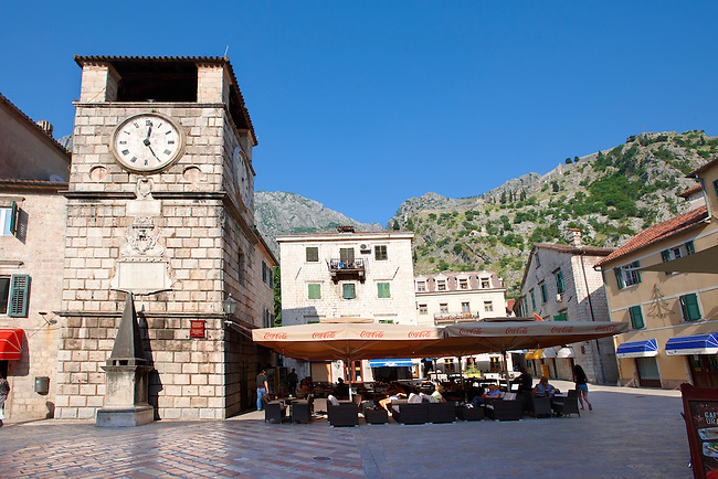 Squares of Arms, the main town square with the clock tower erected in 1602.  Kotor, Montenegro.