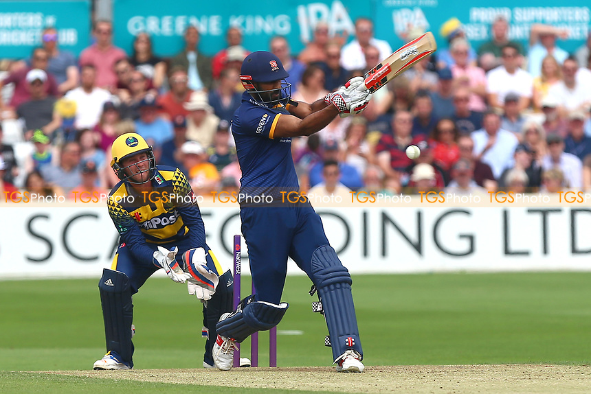 Varun Chopra hits four runs for Essex as Chris Cooke looks on from behind the stumps during Essex Eagles vs Glamorgan, NatWest T20 Blast Cricket at The Cloudfm County Ground on 16th July 2017