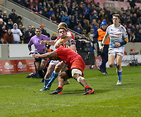 7th February 2020; AJ Bell Stadium, Salford, Lancashire, England; Premiership Cup Rugby, Sale Sharks versus Saracens;  Luke James of Sale Sharks is high tackled by Alex Day of Saracens who was yellow carded for the tackle