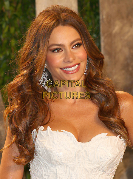 Sofia Vergara.2012 Vanity Fair Oscar Party held at the Sunset Tower, West Hollywood, California, USA..February 26th, 2012.headshot portrait white strapless cleavage .CAP/ADM/FS.©Faye Sadou/AdMedia/Capital Pictures.
