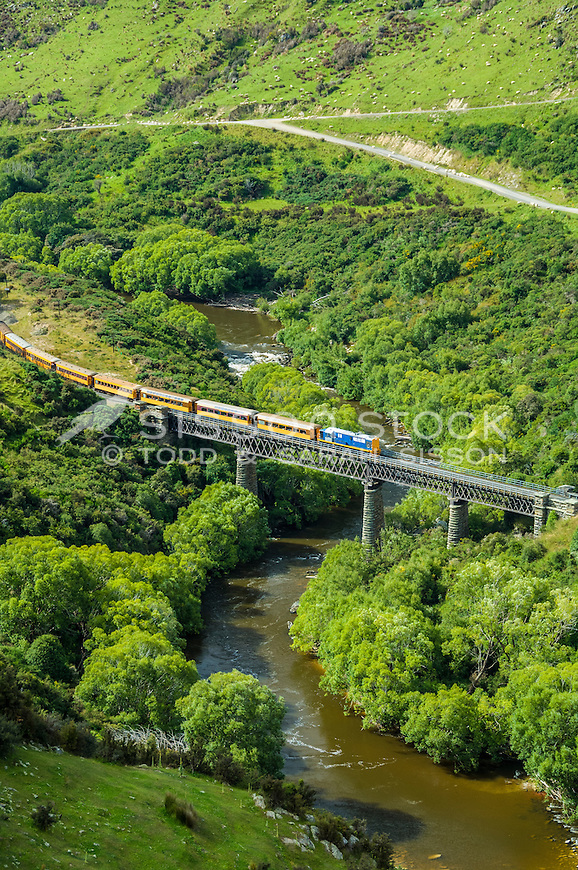 Summertime Taieri Gorge Train excursion, Taieri river at Hindon,Otago, New Zealand - stock photo, canvas, fine art print