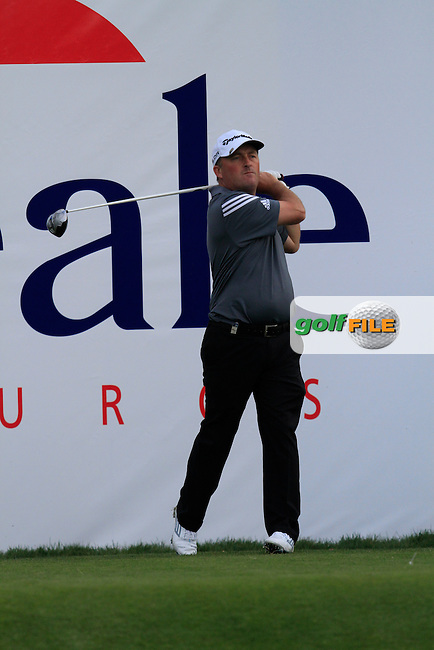 Damien McGrane (IRL) on the 18th tee during Practice Day of The Open De Espana at The PGA Catalunya Resort on Tuesday 13th May 2014.<br /> Picture:  Thos Caffrey / www.golffile.ie