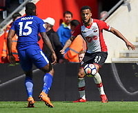 Southampton's Ryan Bertrand (right)  battles with Chelsea's Victor Moses <br /> <br /> Photographer David Horton/CameraSport<br /> <br /> The Premier League - Southampton v Chelsea - Saturday 14th April2018 - St Mary's Stadium - Southampton<br /> <br /> World Copyright &copy; 2018 CameraSport. All rights reserved. 43 Linden Ave. Countesthorpe. Leicester. England. LE8 5PG - Tel: +44 (0) 116 277 4147 - admin@camerasport.com - www.camerasport.com