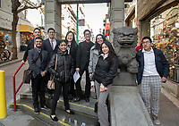 Group photo in Chinatown.<br /> Eleven Occidental College first-years and sophomores traveled with Career Services staff and Senior Associate Dean of Students Erica O'Neal Howard to San Francisco for a day to visit Cambridge Associates, managers of Oxy's endowment, as part of their workforce diversity initiative. They were invited to meet with employees (including two alums), tour the office, and learn about careers in investment management. Students were able to see how their quantitative courses could be applied to future career opportunities.<br /> January 17, 2020.<br /> (Photo by Marc Campos, Occidental College Photographer)