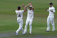 Joe Mennie of Lancashire celebrates with his team mates after taking the wicket of Tom Westley during Lancashire CCC vs Essex CCC, Specsavers County Championship Division 1 Cricket at Emirates Old Trafford on 10th June 2018