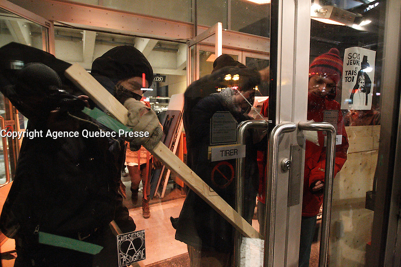 FILE PHOTO - Violent demonstrations at UQAM (Universite du Quebec A Montreal), April 8 and 9, 2015.