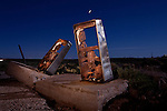 Abandoned gas pumps are part of the roadside ruins located along historic Route 66 at Two Guns, Arizona