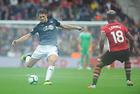 Burnley's James Tarkowski under pressure from Southampton's Mario Lemina<br /> <br /> Photographer Kevin Barnes/CameraSport<br /> <br /> The Premier League - Southampton v Burnley - Sunday August 12th 2018 - St Mary's Stadium - Southampton<br /> <br /> World Copyright &copy; 2018 CameraSport. All rights reserved. 43 Linden Ave. Countesthorpe. Leicester. England. LE8 5PG - Tel: +44 (0) 116 277 4147 - admin@camerasport.com - www.camerasport.com