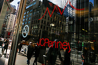 NEW YORK, NY - FEBRUARY 25:  People are reflected in a glass door at the JC Penney's headquarter on February 25, 2019 in Manhattan, New York. J.C. Penney (JCP) is expected to deliver a decline in earnings on lower revenues for the quarter ended.  (Photo by Eduardo Munoz Alvarez/VIEWpress)