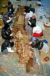 Trabalho com a pele de baleia para construção de barco. Alasca. 1999. Foto: Luciana Whitaker.